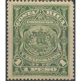 Costa Rica 1892 Sc #41 Escudo 1p Con Matasello.