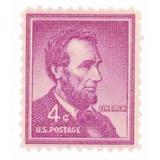 Us Sc #1036 - 1954 4c Abraham Lincoln Con Matasello.