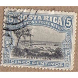 Costa Rica 1901 Sc #47 Puerto Limón 5c Con Matasello.
