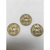 3 Monedas De 50 Céntimos España 1949.