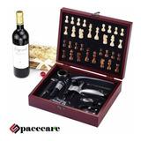 Juego De Ajedrez En Caja De Madera Con Artículos Para Vino