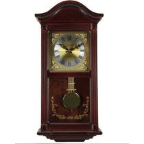 Reloj De Pared Antiguo Con Péndulo Acabado Caoba