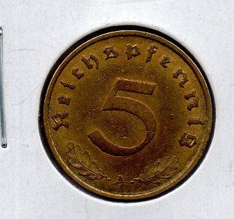 Moneda De Alemania Nazi 5 Reichfennigs # 4 Apo