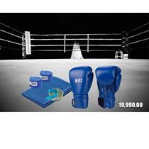 Guante Boxeo Blitz 10-12-14-16oz Con Venda Bucal Y Paño