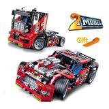 Decool 3360 608 Piezas Race Truck Car 2 En 1 Modelo Transfor