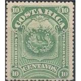 Costa Rica 1892 Sc #38 Escudo 10c Con Matasello.