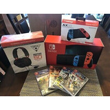 Nintendo Switch Consola Con Neón Azul Y Rojo Neón Joy-con