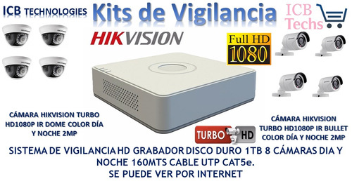 Kit De Vigilancia Hikvision 8 Camaras Hd 1080p 1tb 160mts Ca