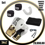 Guante Boxeo Everlast  10-12-14-16oz Venda Bucal Cuerda Paño