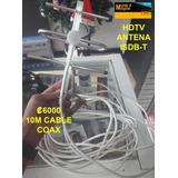 Antena Hdtv Digital Con 10 Metros De Cable Coax