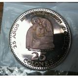Costa Rica 25 Colones 1970 Moneda De Plata Conmemorativa  Ma