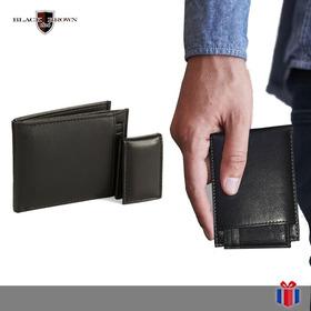 Billetera Marca Black&brown Negra Caja Con Tarjetero Y Clip