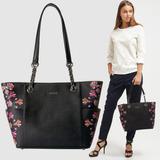 Calvin Klein Bolso Tote Negro Flores -65% - Original Nueva