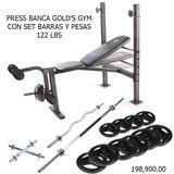 Press Banca Golds Gym Con Barra 1,53cms. Mancuernas Z  Pesas