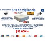 Sistema De Seguridad Hikvision 2 Cámaras Hd 720p 500gb 40mts