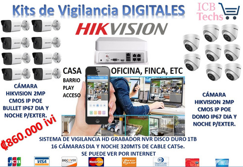 Sistema De Seguridad Nvr Hikvision 16 Cámaras Digitales