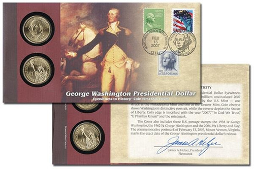 Portada Del Primer Día De La Moneda De George Washington 200