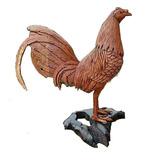 Gallo De Pelea Esculpido En Madera