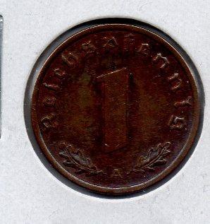 Moneda De Alemania Nazi 1 Reichfennigs # 2 Apo