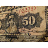 Billete Antiguo De Costa Rica Serie A 50 Cen 16 Ene 1918 Jmg