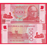Billete De Paraguay 5000 Guaranies 2016,p-new Unc, Mlc