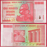 Billete De Zimbadwe 100,000,000,  Dollar 2008, Circ. . Mlc .