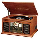 Regalos Tornamesa Madera Clásica 6-en-1 Radio Bluetooth Cd