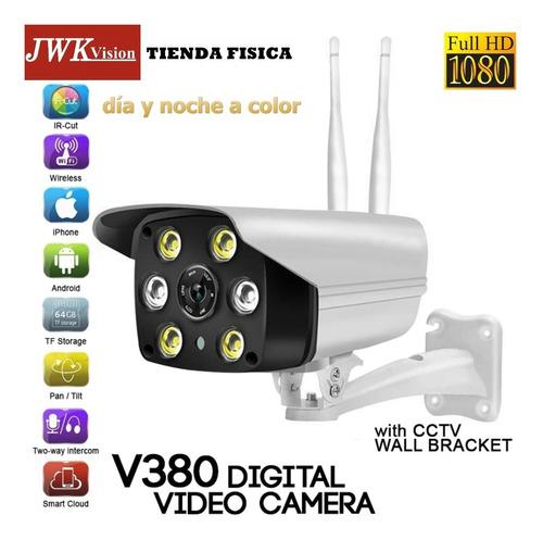 Camara Wifi Ip Hd1080p Dia Y Noche A Color Para Exterior Jwk
