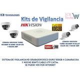 Sistema De Seguridad Hikvision 4 Cámaras Hd 1080p 1tb 80mt