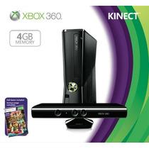 Xbox360 Xbox 360 Slim 4gb Kinect + 3 Jgs + Garan Financiamie