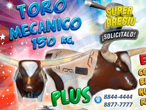 Inflable Toro Mecanico Trampolin Futbolin Burbujas F Vaquera